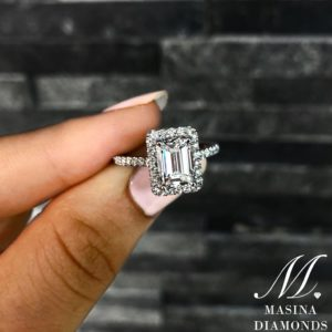 Emerlad Cut Halo Engagement Ring with Dainty Band