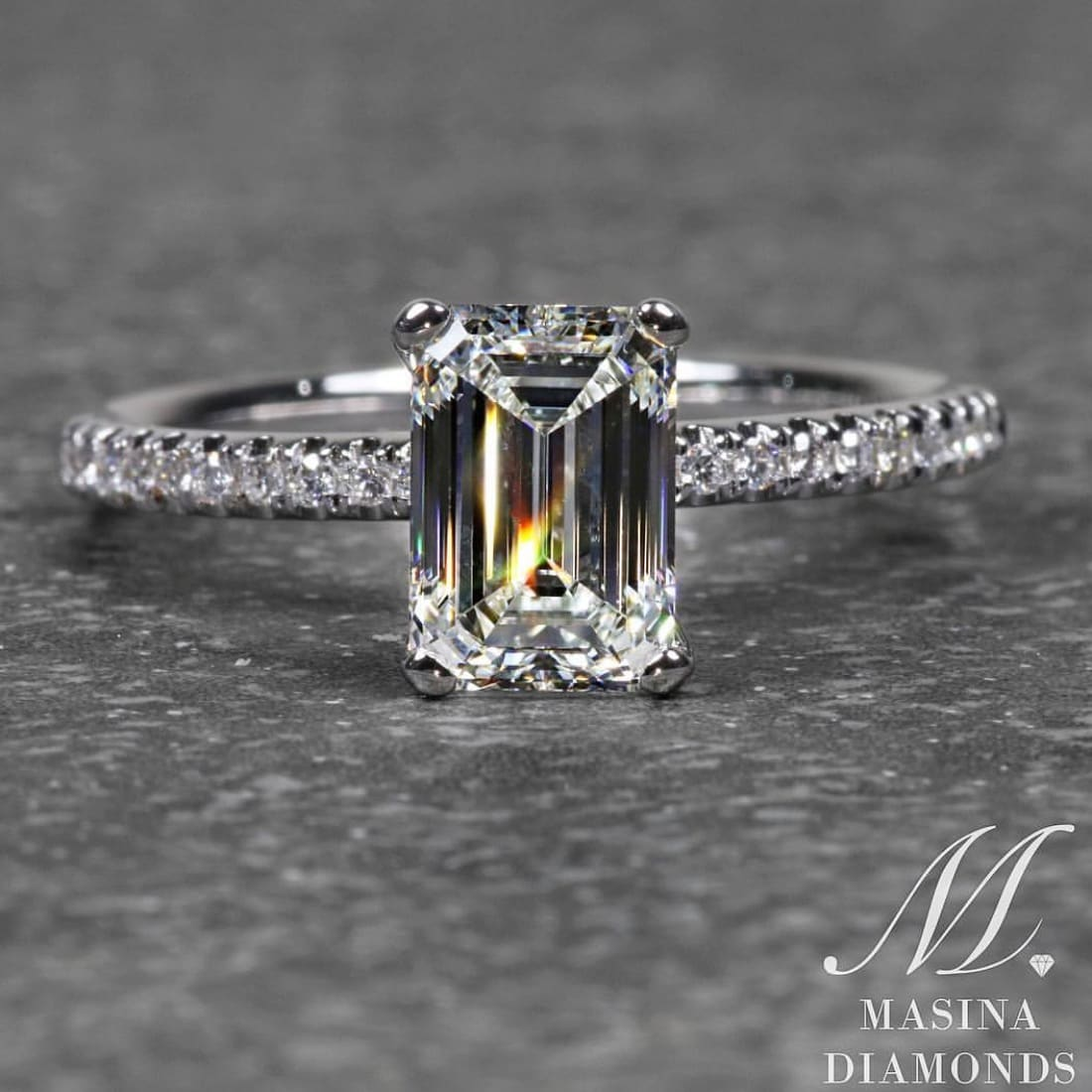 Emerald Cut Engagement Ring with Diamond Accent Band