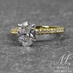 Oval Shape Engagement Ring with Yellow Gold Diamond Accent Band
