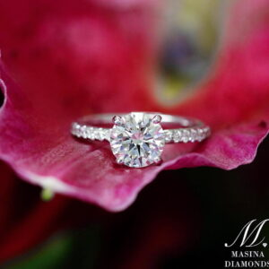 Round Diamond Engagement Ring with Diamond Accent Band
