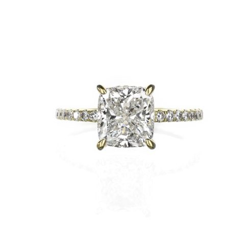 Yellow gold solitaire hidden halo cushion engagement ring