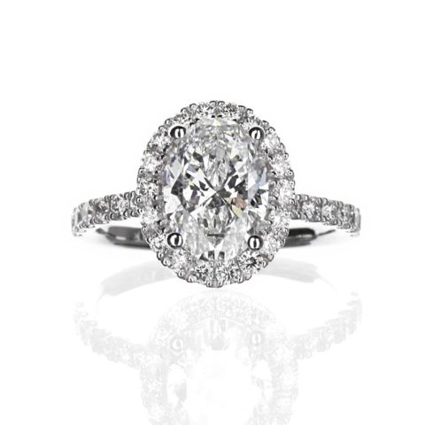 2.00 carat Oval Halo Engagement Ring