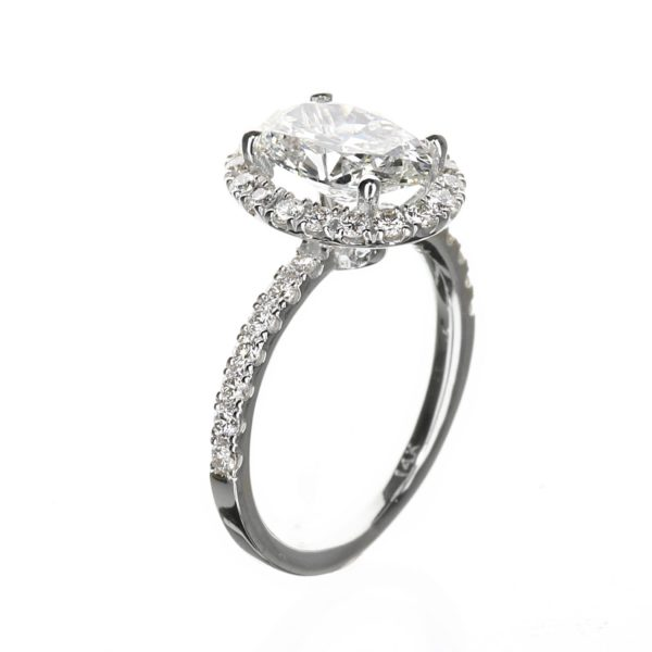 Side view of 2.00 carat Oval Halo Engagement Ring