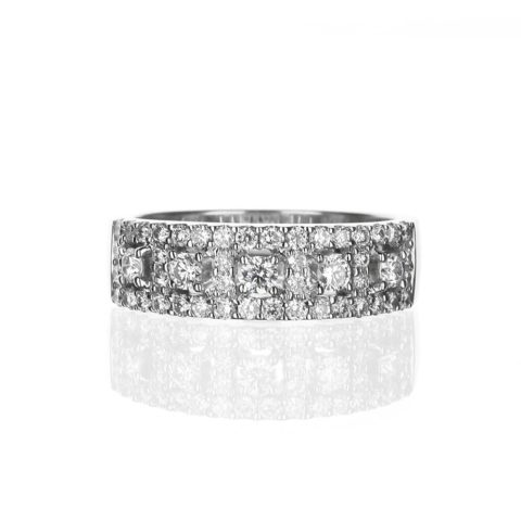 wide diamond band in white gold