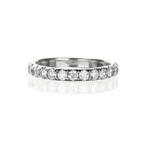 Large diamond wedding band in 18 karat white gold