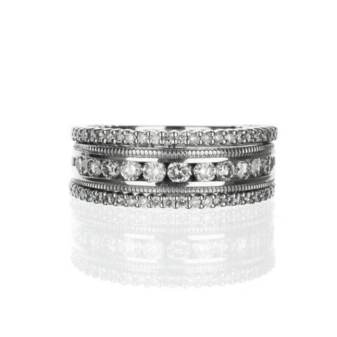 Three row diamond and filigree band
