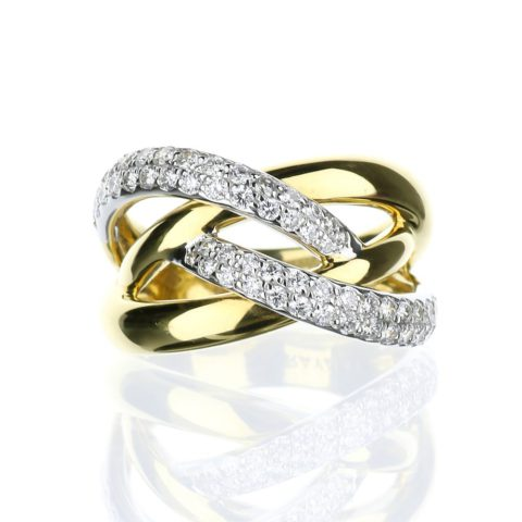 Criss Cross Diamond right hand ring