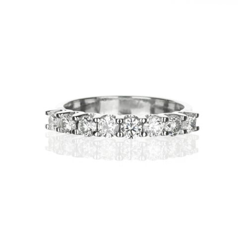 Eight stone diamond wedding band in white gold