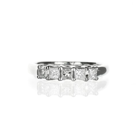 diamond wedding band with 5 princess cut diamonds