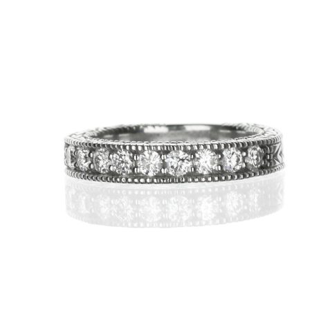 Diamond filigree wedding band in white gold