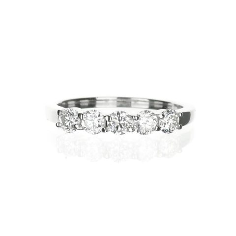.71 carat five stone diamond wedding band in white gold