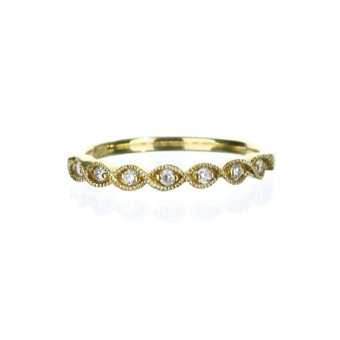 Yellow gold filigree marquise wedding band