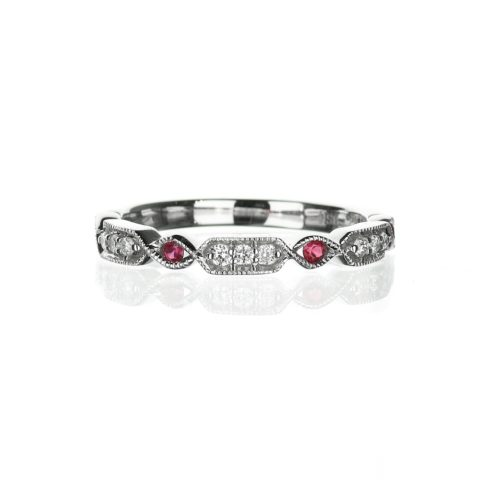 Vintage diamond and ruby wedding band in white gold