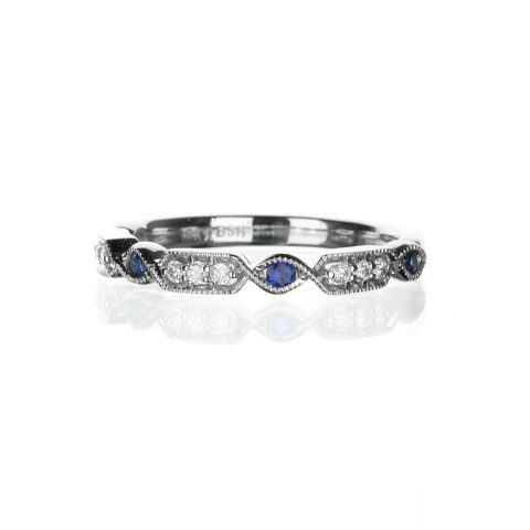 vintage diamond and sapphire white gold wedding band