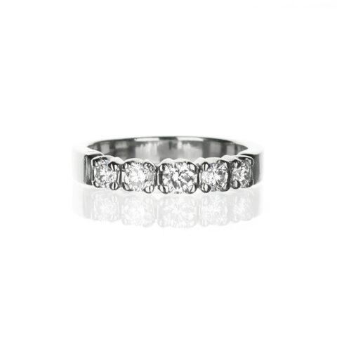 Five stone platinum diamond wedding band