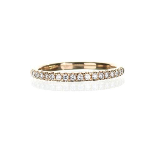 Delicate rose gold diamond wedding band