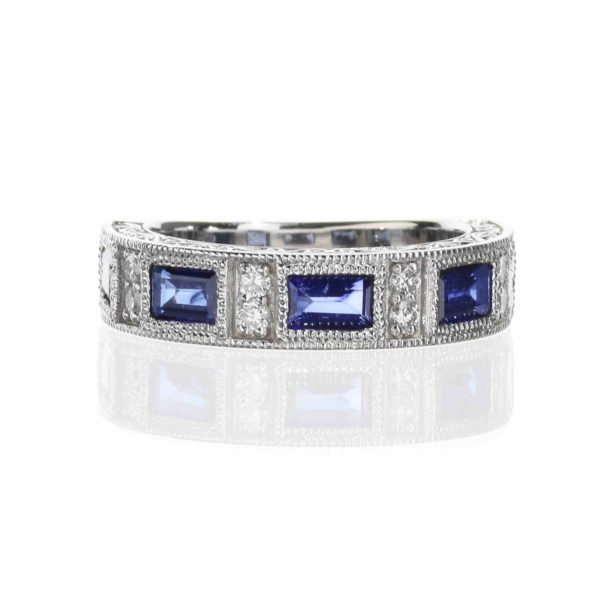 Vintage inspired wedding band with sapphires and diamonds