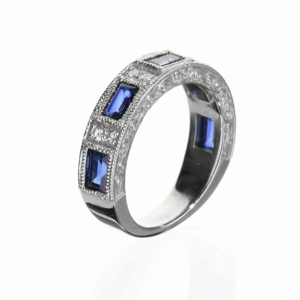 side view of vintage inspired wedding band with sapphires and diamonds