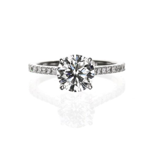 Round Solitaire Diamond Accent Engagement Ring