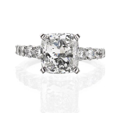 Four Carat Cushion Cut Engagement Ring