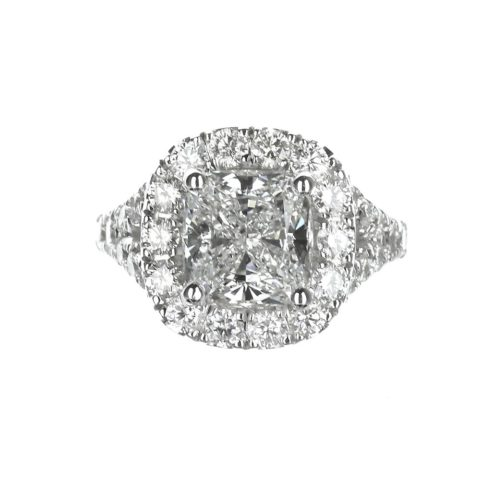 Cushion cut halo engagement ring split shank