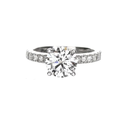 Round Hidden Halo Engagement Ring with 1.70 carat diamond