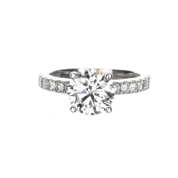 Round Hidden Halo Engagement Ring with 1.70 carat diamond