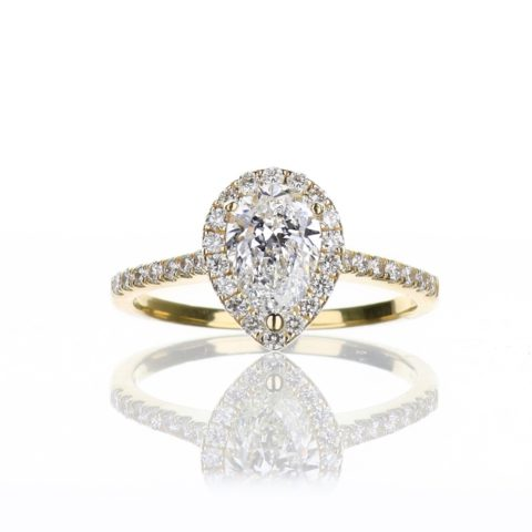Pear Shape Halo Engagement Ring in Yellow Gold