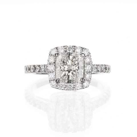 Cushion Cut Halo Diamond Engagement Ring Delicate Band