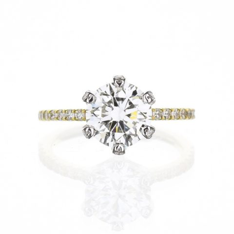 hidden halo diamond basket solitaire engagement ring