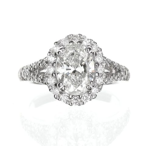 Oval Halo Engagement Ring Split Shank