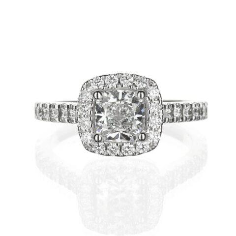Cushion cut Halo engagement Ring with diamond basket