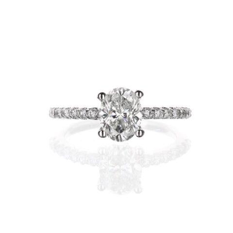 14 Karat White Gold Oval Diamond Engagement Ring pave band