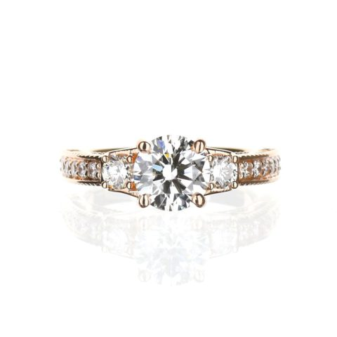 Three Stone Vintage Engagement Ring in Rose Gold
