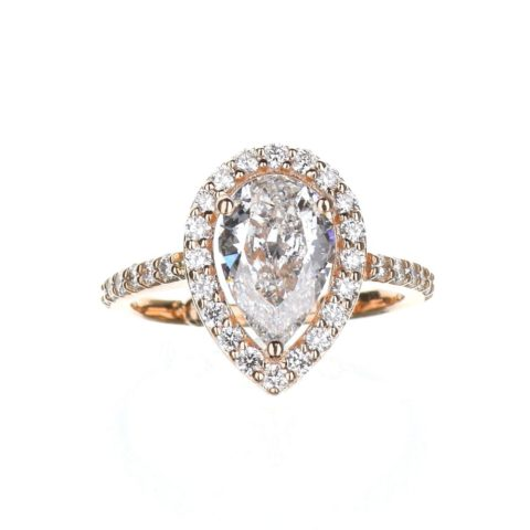 Pear Shape Halo Engagement Ring in Rose Gold