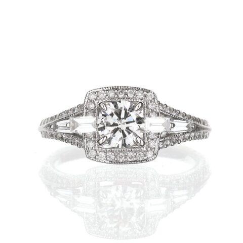 Vintage Halo Engagement Ring round diamond