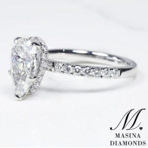 Pear Shape Engagement Ring Hidden Halo