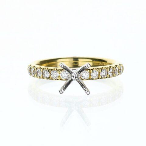 18 Karat Yellow Gold Diamond Accent Engagement Ring