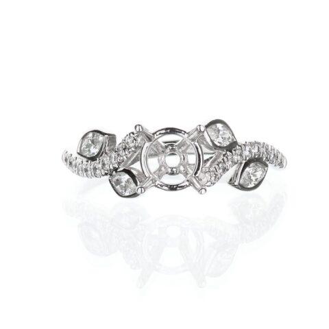 14 Karat White Gold Leaf Design Engagement Ring