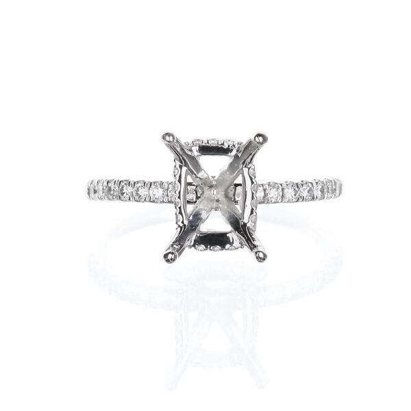 14 Karat White Gold Hidden Halo Engagement Ring