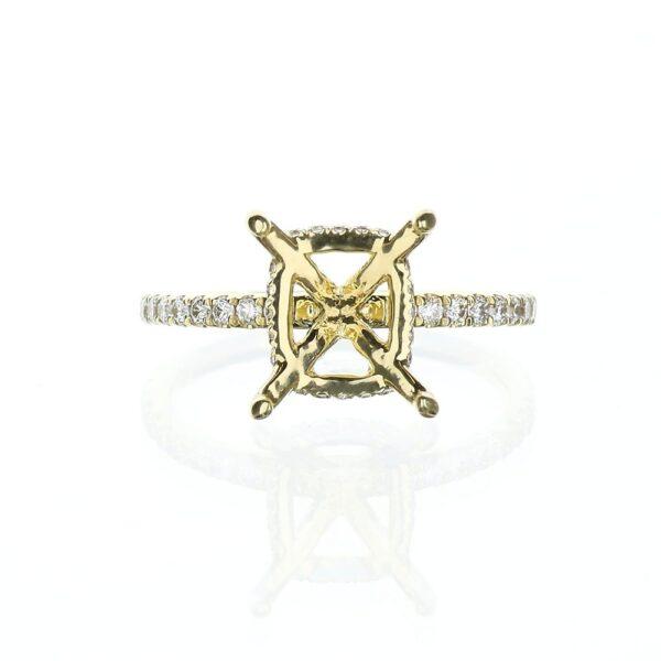 Yellow Gold Hidden Halo Engagement Ring