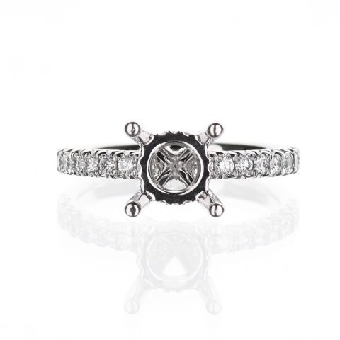 Diamond Accent Engagement Ring with Diamond Basket
