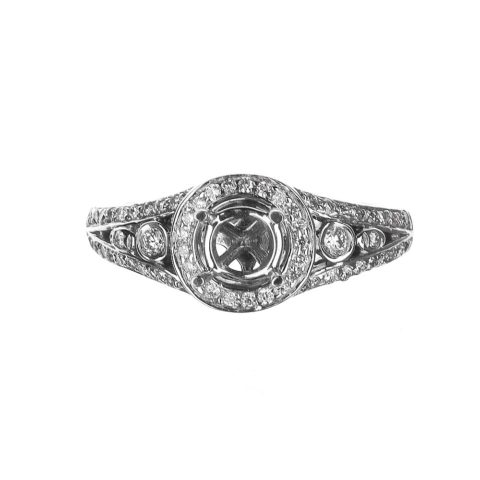 Vintage Inspired Round Halo Diamond Engagement Ring