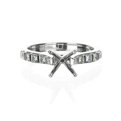 14 Karat White Gold Cathedral Engagement Ring Bar Setting