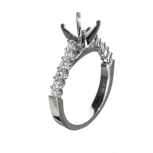 14 Karat White Gold Cathedral Solitaire Diamond Engagement Ring