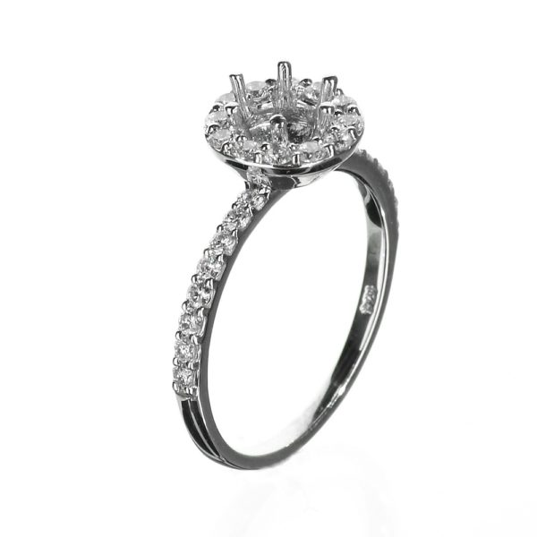 Round Halo Engagement Ring Delicate Band