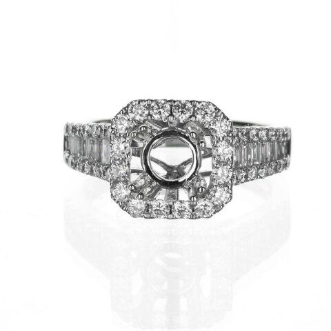 !4 Karat White Gold Halo Engagement Ring Baguette Band