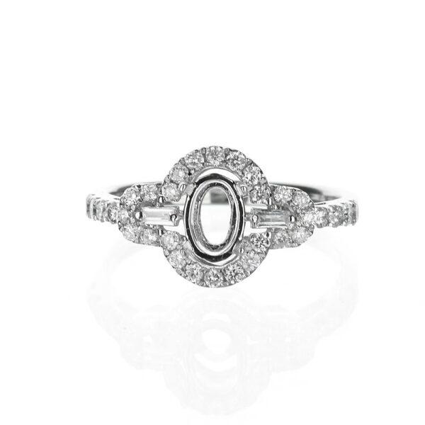 Oval Three Stone Halo Engagement Ring
