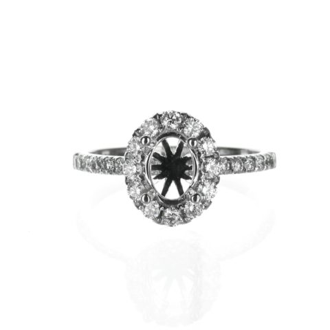 Delicate Oval Halo Engagement Ring