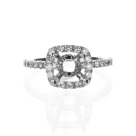Dainty Cushion Cut Halo Engagement Ring Diamond Basket